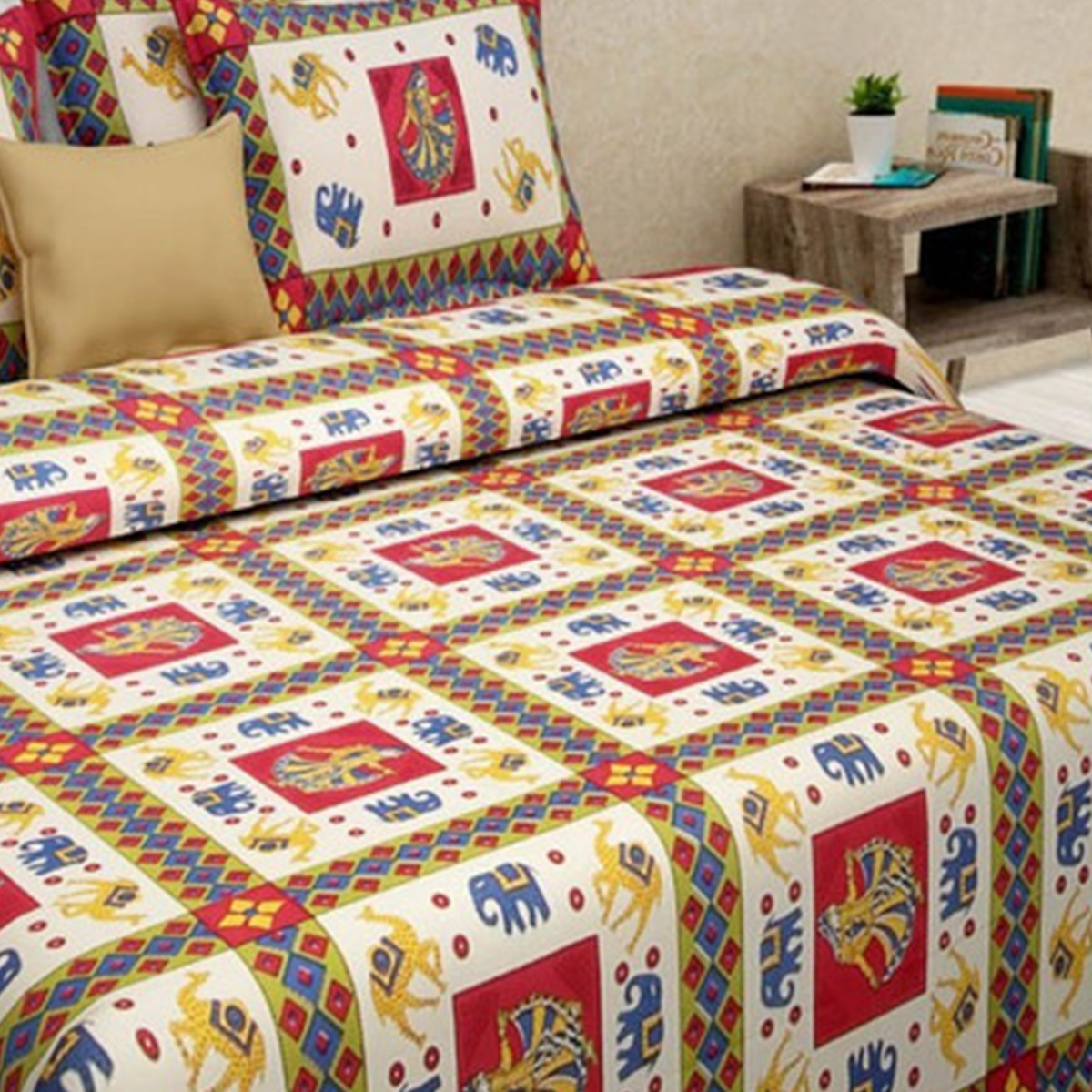 Bhagats Red-Multi Colored Printed Cotton Double Bedsheet With 2 Pillow Cover