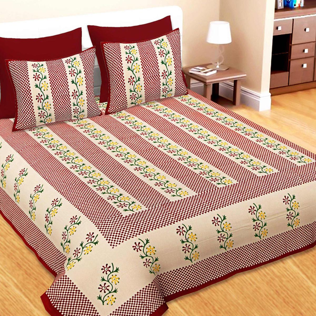 Bhagats Red Colored Hand Block Print Cotton Double Bedsheet With 2 Pillow Cover