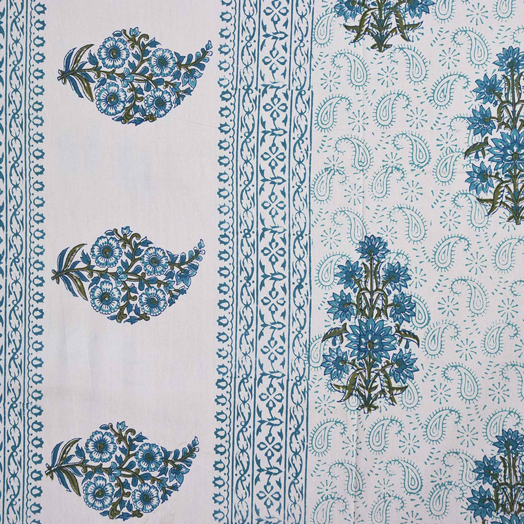 Bhagats Blue Colored Hand Block Print Cotton Double Bedsheet With 2 Pillow Cover