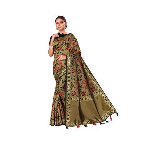 Amegh - Golden Colored Festive Wear Woven Banarasi Silk Saree With Tassels