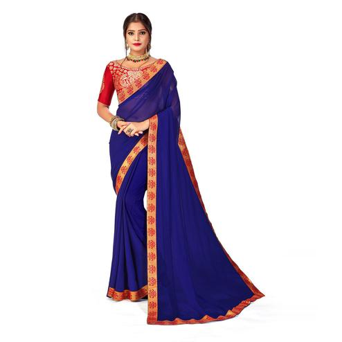 Amegh - Dark Blue Colored Festive Wear Solid Georgette Saree