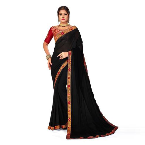 Amegh - Black Colored Festive Wear Solid Georgette Saree