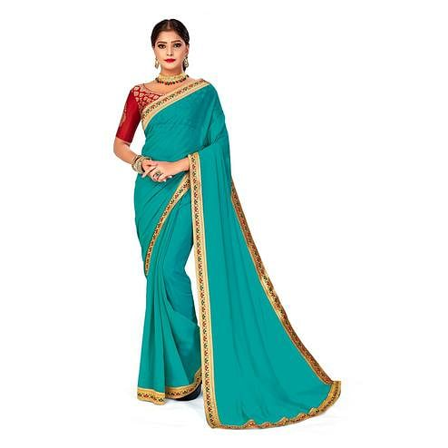 Amegh - Sky Blue Colored Festive Wear Solid Georgette Saree