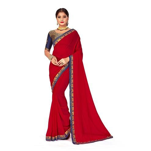 Amegh - Red Colored Festive Wear Solid Georgette Saree