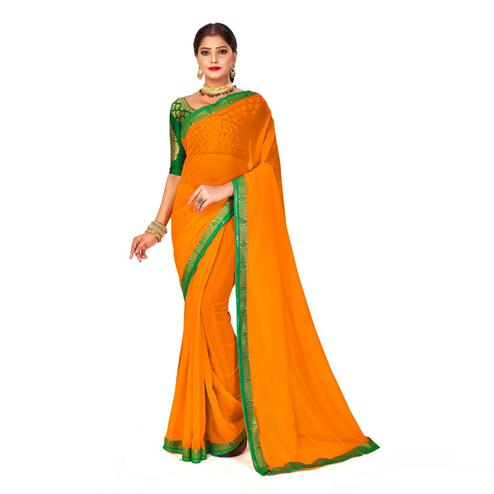 Amegh - Yellow Colored Festive Wear Solid Georgette Saree