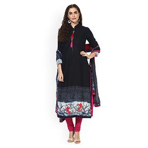 Attractive Navy Blue & Pink Unstitched Silk Blend Dress Material