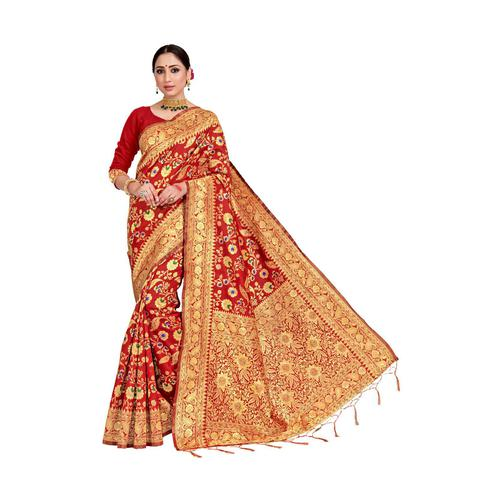 Amegh - Red Colored Festive Wear Woven Banarasi Silk Saree With Tassels