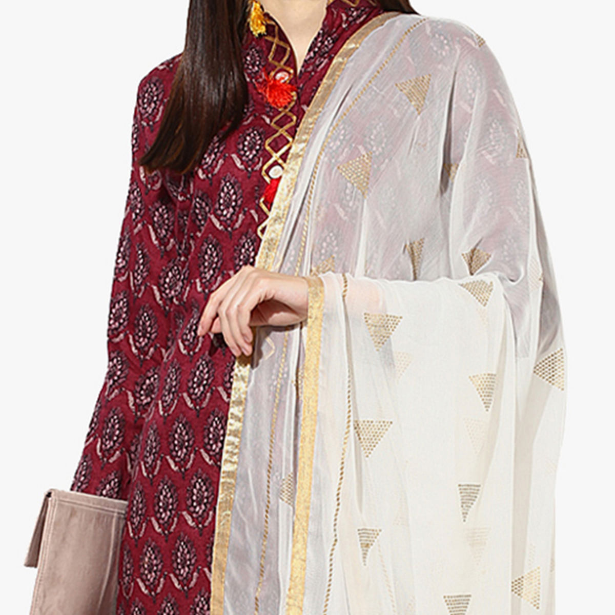 Classy Maroon Unstitched Silk Blend Dress Material