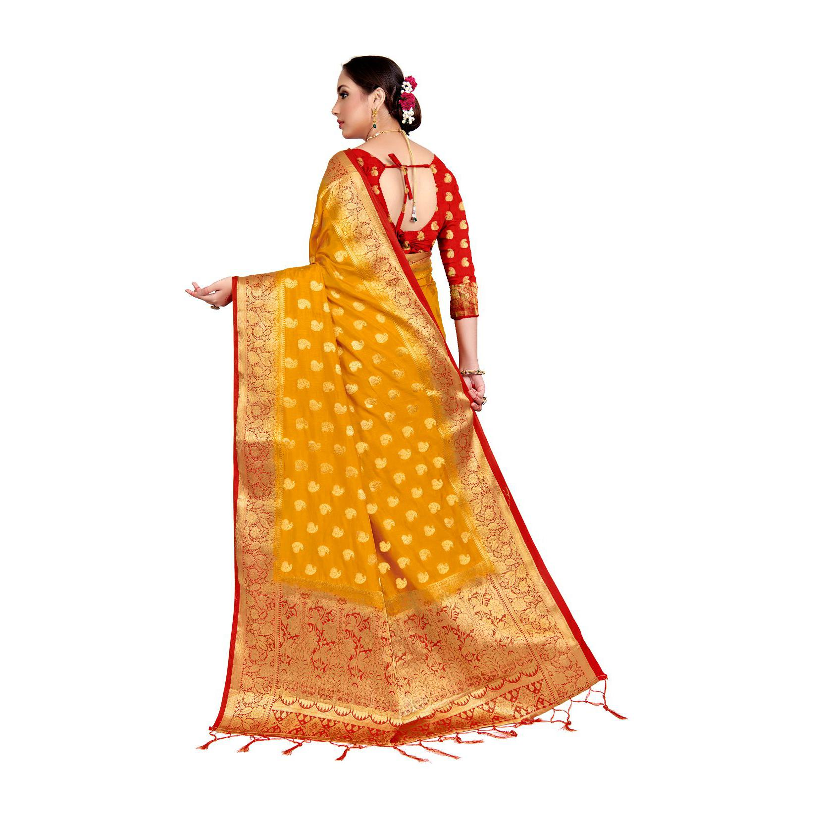 Amegh - Yellow Colored Festive Wear Woven Nylon Saree With Tassels