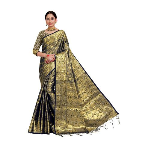 Amegh - Golden Colored Festive Wear Woven Nylon Saree With Tassels