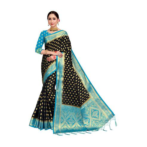 Amegh - Dark Blue Colored Festive Wear Woven Nylon Saree With Tassels
