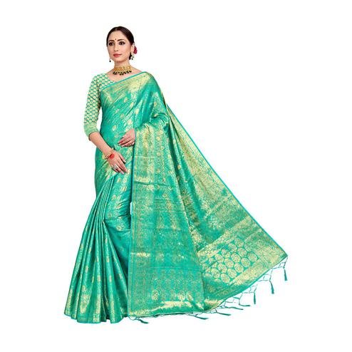 Amegh - Sea Green Colored Festive Wear Woven Nylon Saree With Tassels
