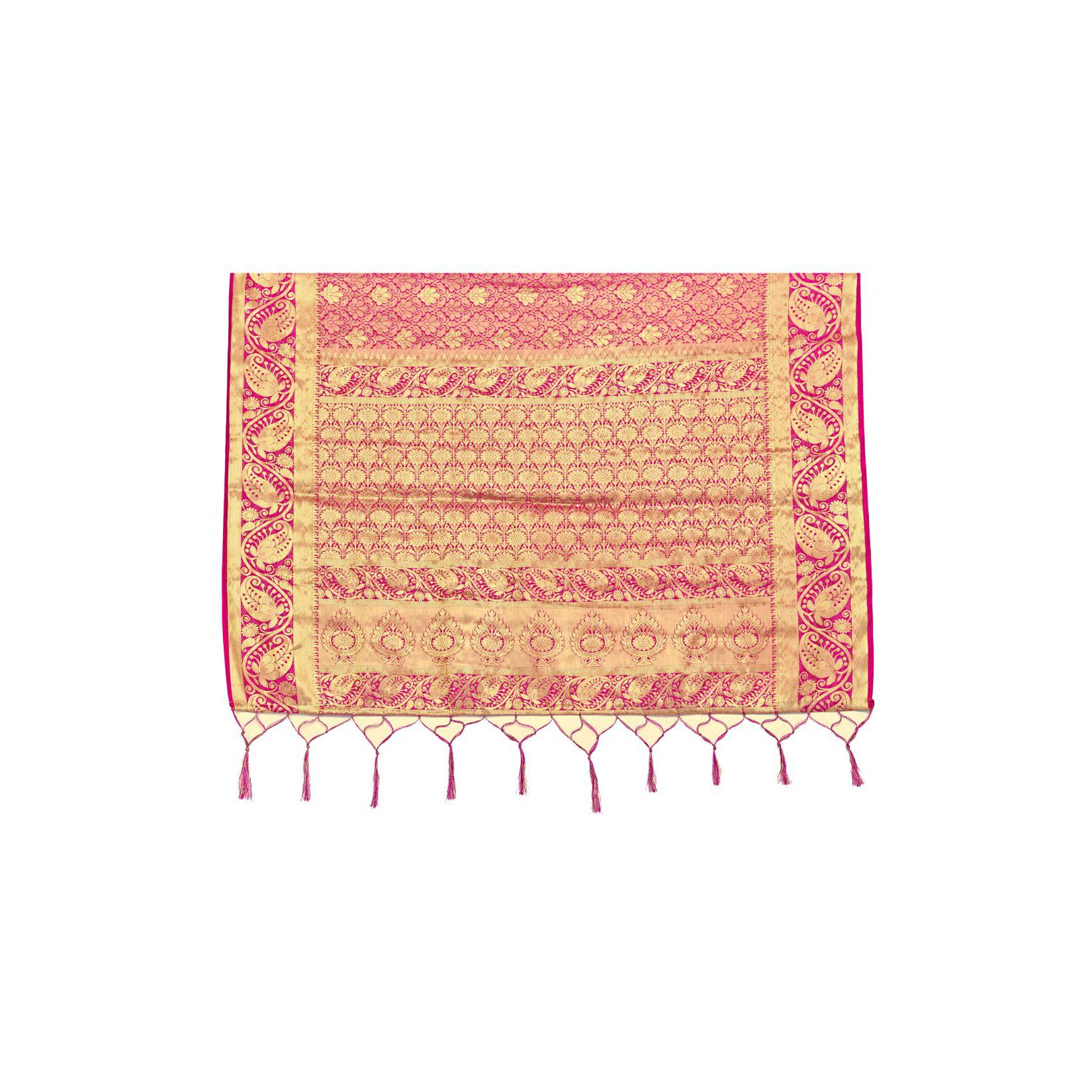 Amegh - Pink Colored Festive Wear Woven Nylon Saree With Tassels