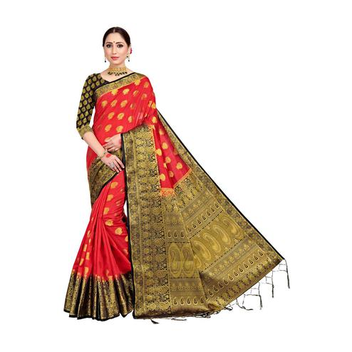 Amegh - Red Colored Festive Wear Woven Nylon Saree With Tassels