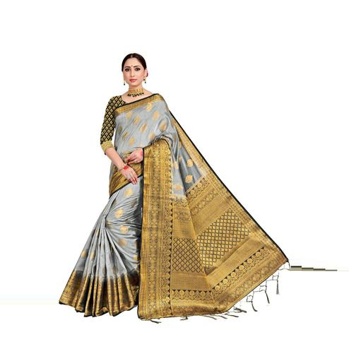 Amegh - Grey Colored Festive Wear Woven Nylon Saree With Tassels