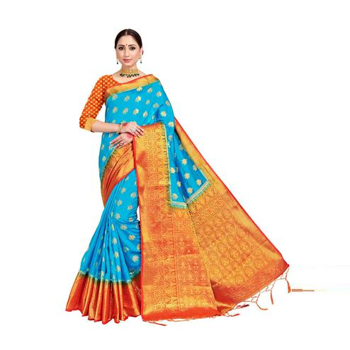 Amegh - Sky Blue Colored Festive Wear Woven Nylon Saree With Tassels