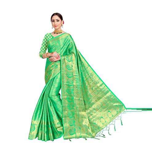 Amegh - Green Colored Festive Wear Woven Nylon Saree With Tassels