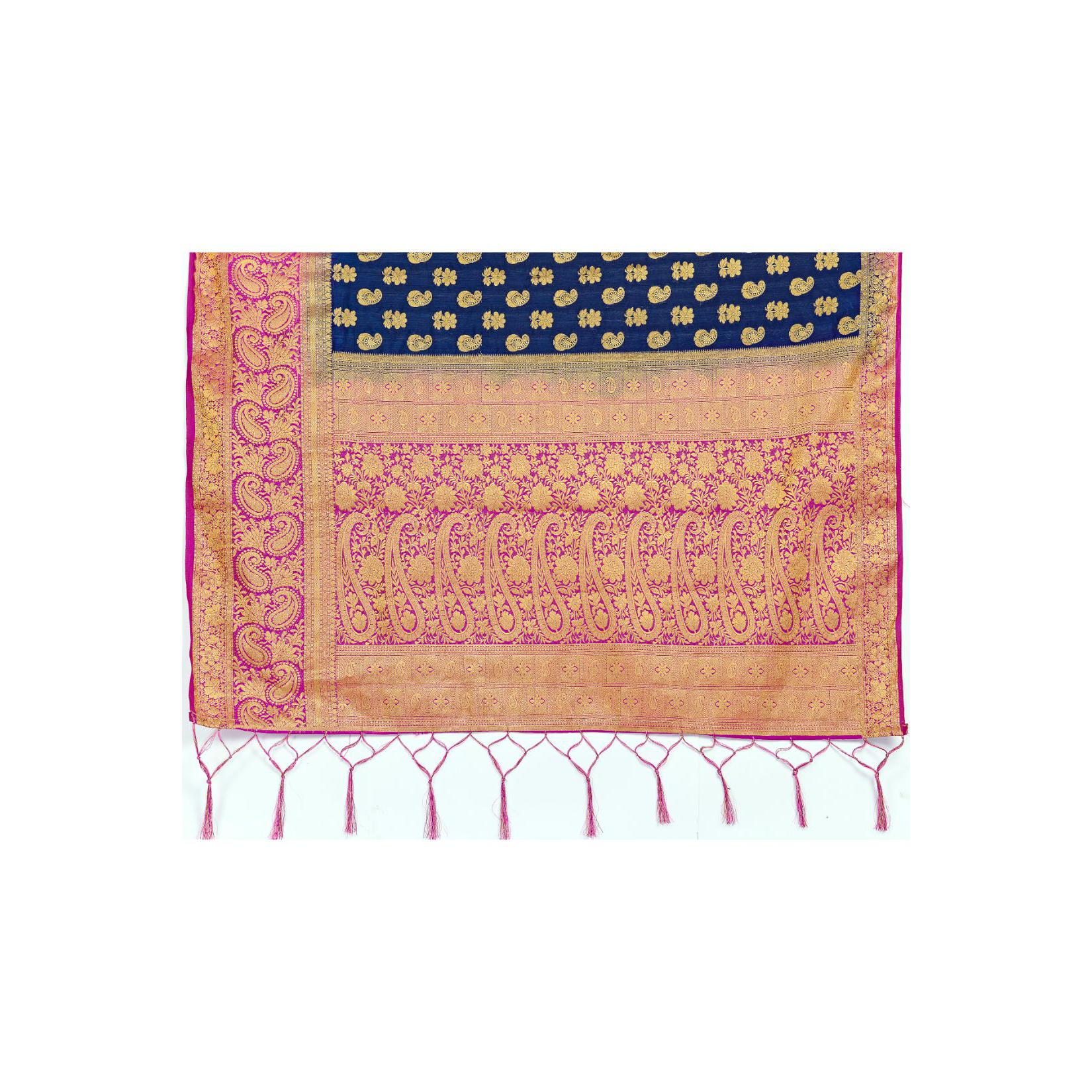 Amegh - Navy Blue Colored Festive Wear Woven Nylon Saree With Tassels