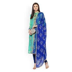 Dazzling Sea Green-Blue Designer Embroidered Silk Blend Salwar Suit