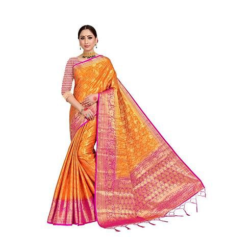 Amegh - Orange-Pink Colored Festive Wear Woven Nylon Saree With Tassels