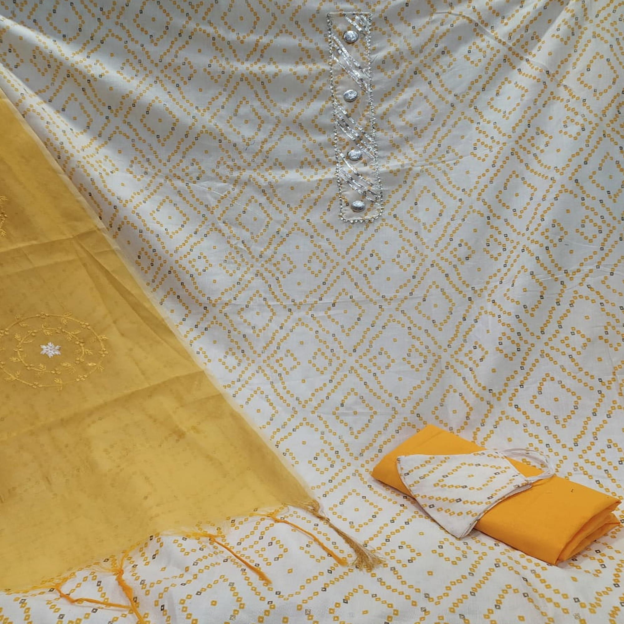 Jazzy White -  Yellow Colored Casual Wear Printed Cotton Dress Material