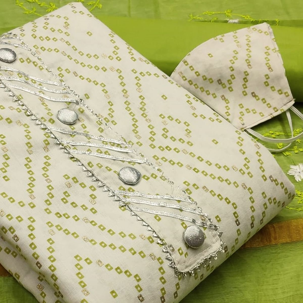 Delightful White -  Green Colored Casual Wear Printed Cotton Dress Material