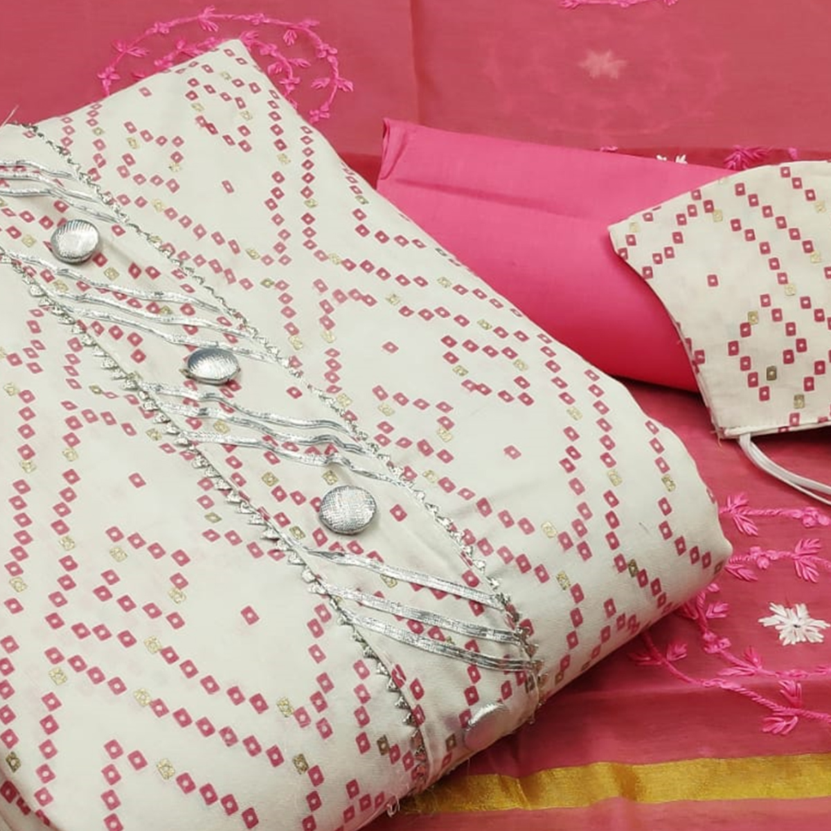 Engrossing White -  Pink Colored Casual Wear Printed Cotton Dress Material