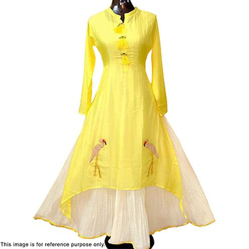 Ravishing Yellow Designer Partywear Embroidered Chanderi Gown