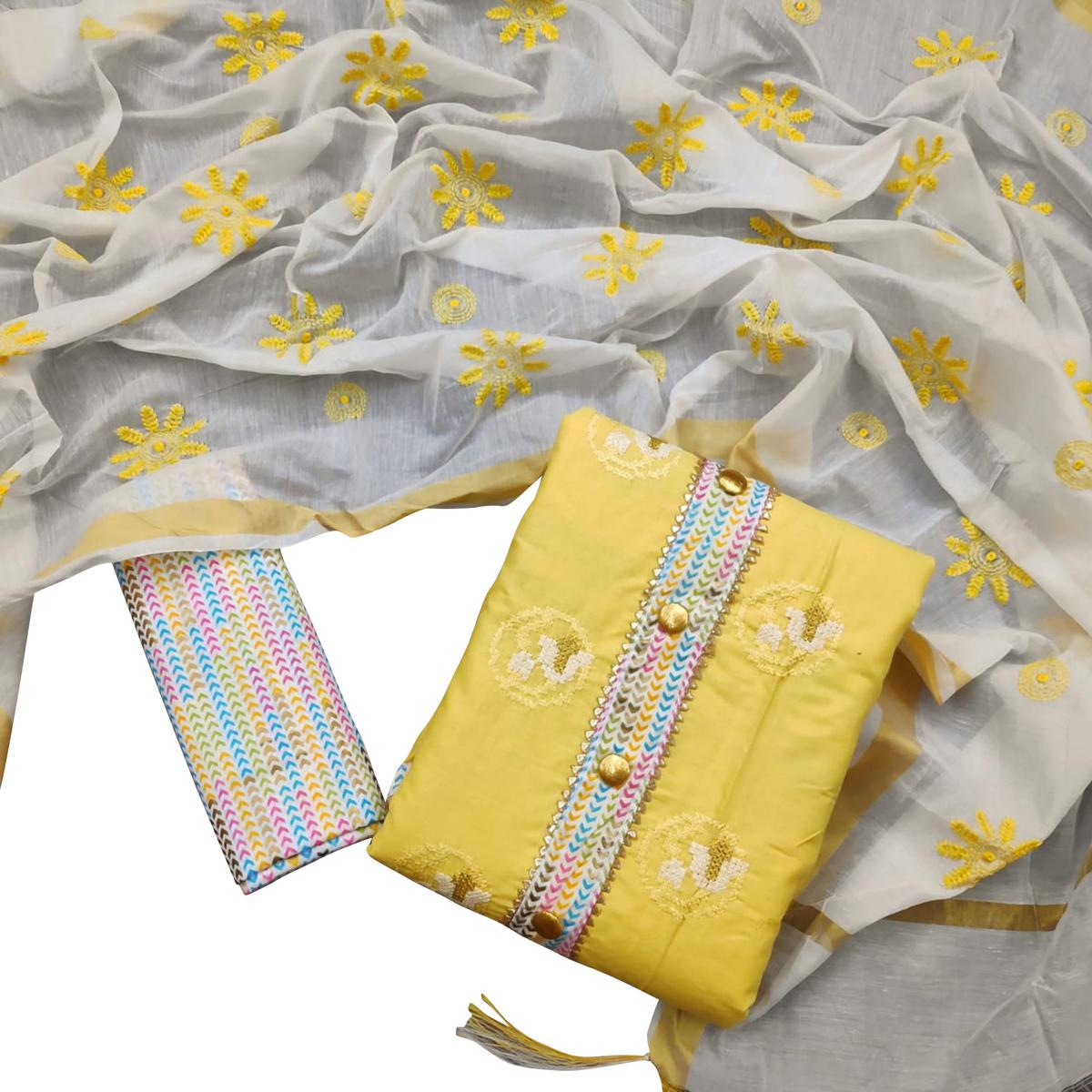 Amazing Yellow Colored Casual Wear Embroidered Cotton Dress Material