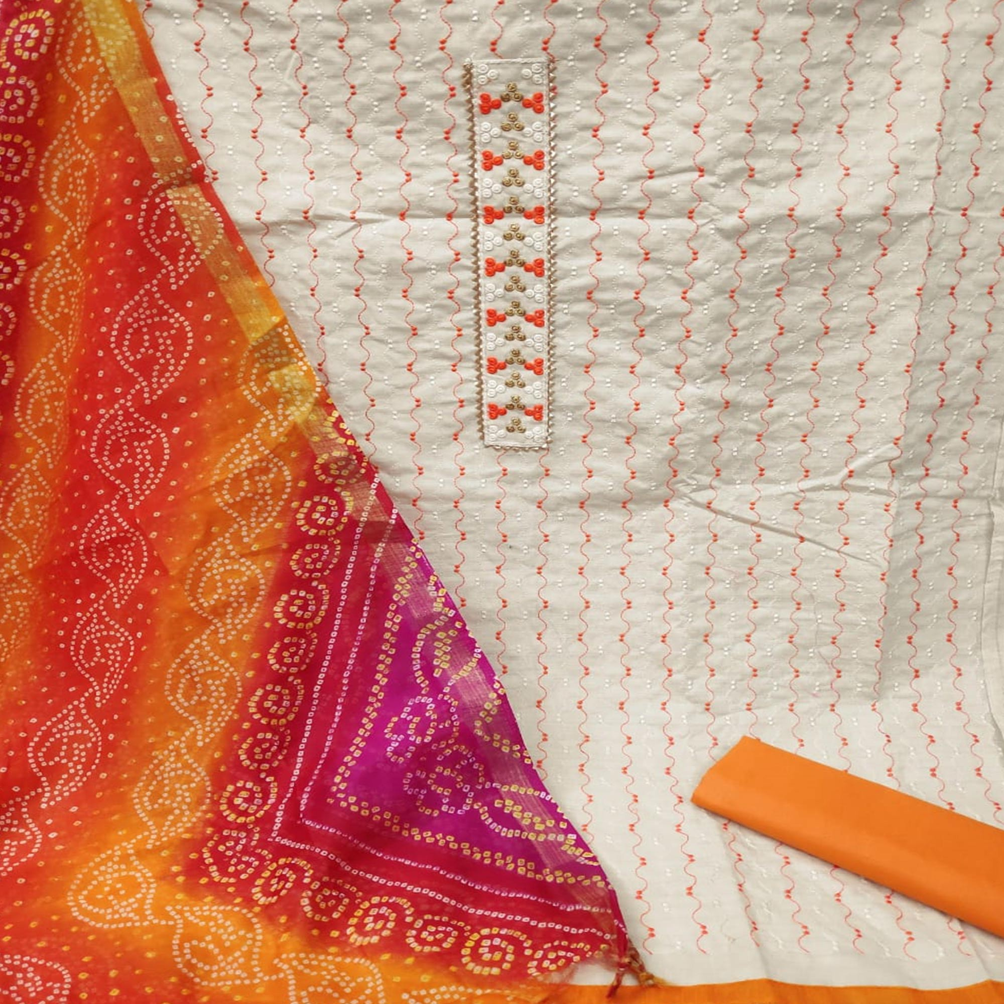 Gorgeous White - Orange Colored Partywear Embroidered Khadi Cotton Dress Material