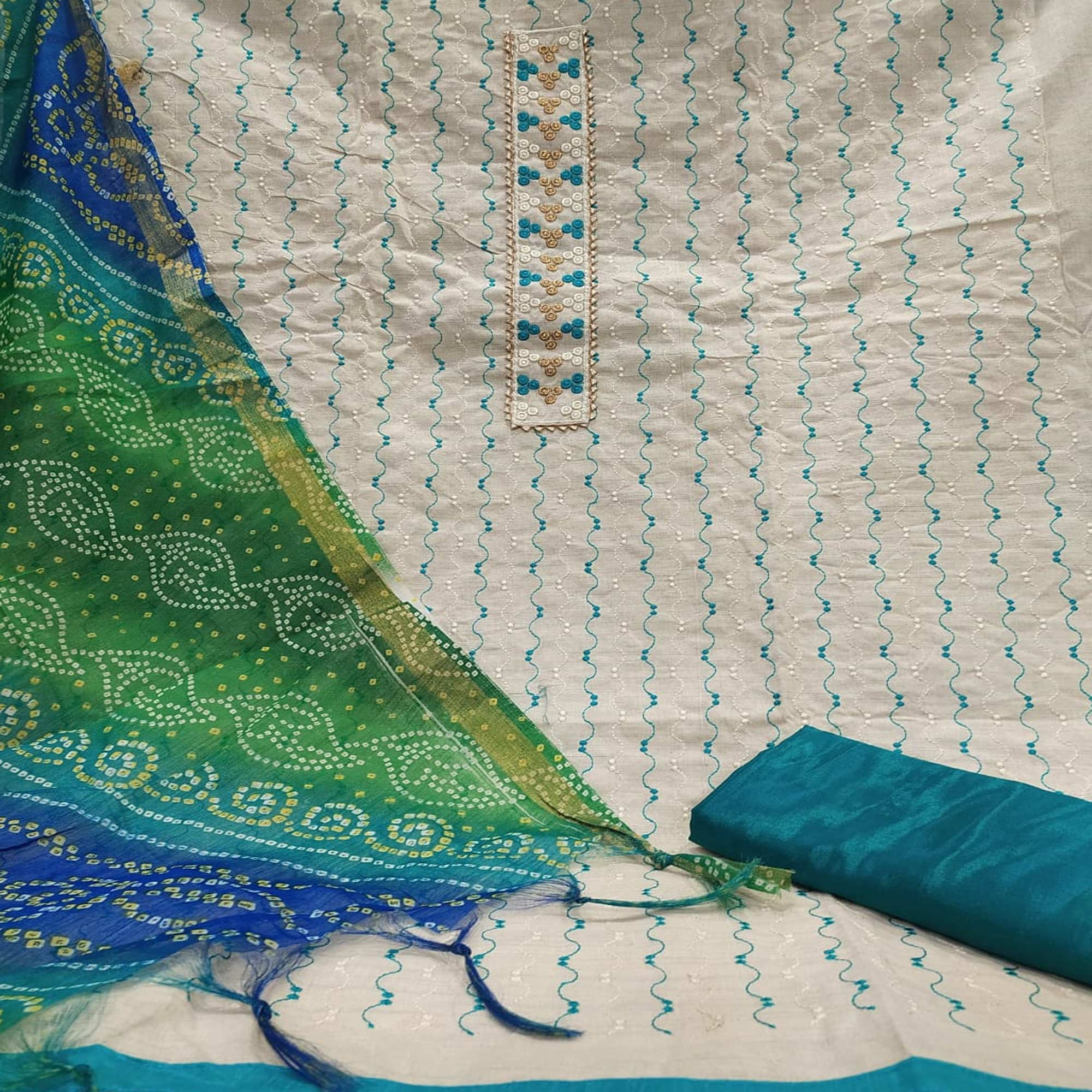 Blissful White - Turquoise Colored Partywear Embroidered Khadi Cotton Dress Material