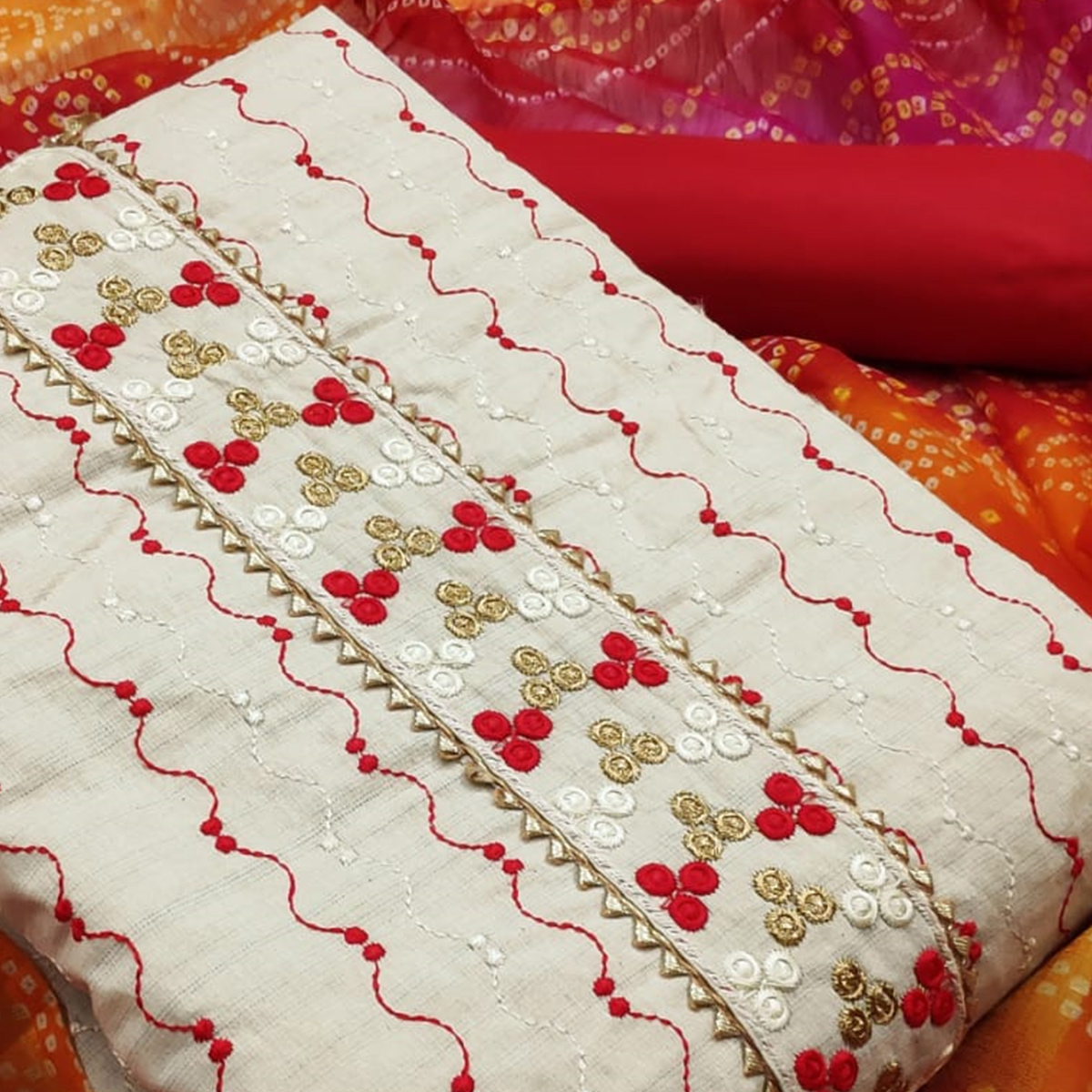 Ideal White - Red Colored Partywear Embroidered Khadi Cotton Dress Material