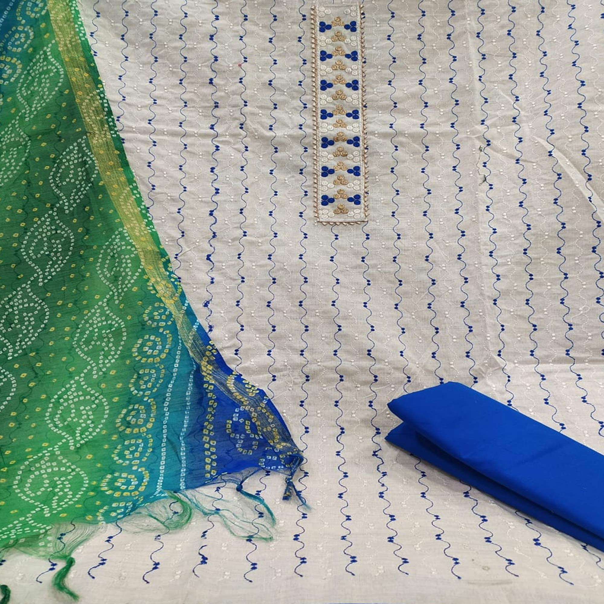 Imposing White - Blue Colored Partywear Embroidered Khadi Cotton Dress Material