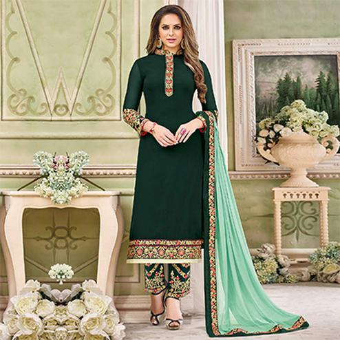 Beautiful Bottle Green Designer Partywear Embroidered Faux Georgette Pant Style Suit