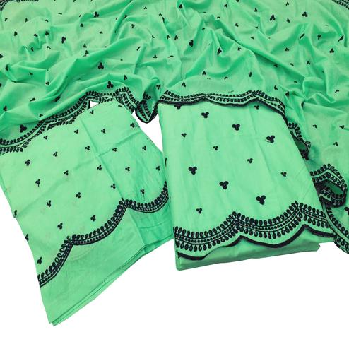 Pleasance Green Colored Partywear Embroidered Cotton Dress Material