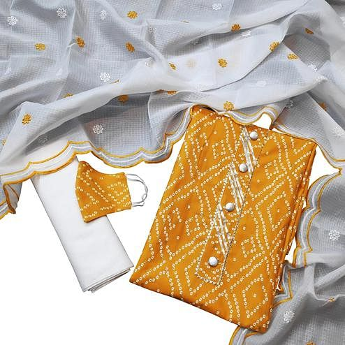 Breathtaking Mustard Yellow Colored Partywear Printed Cotton Dress Material