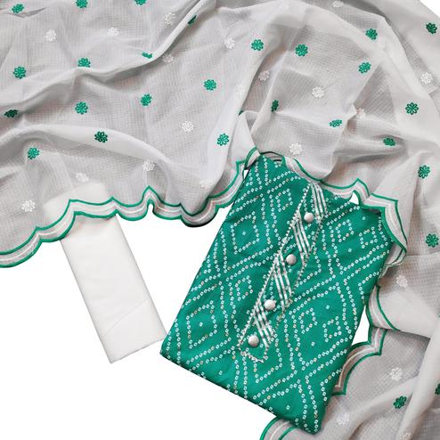 Ethnic Turquoise Green Colored Partywear Printed Cotton Dress Material