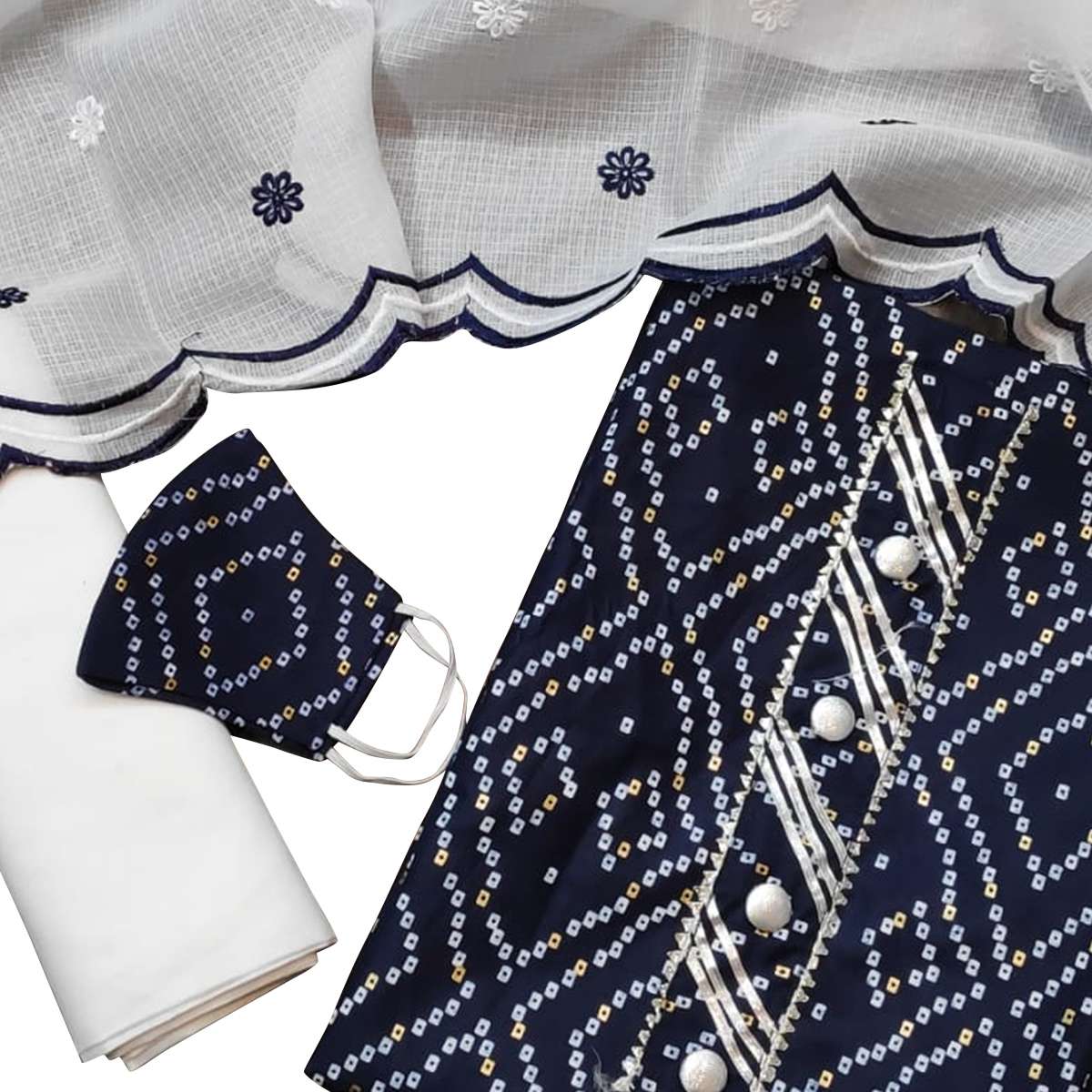 Ravishing Navy Blue Colored Partywear Printed Cotton Dress Material