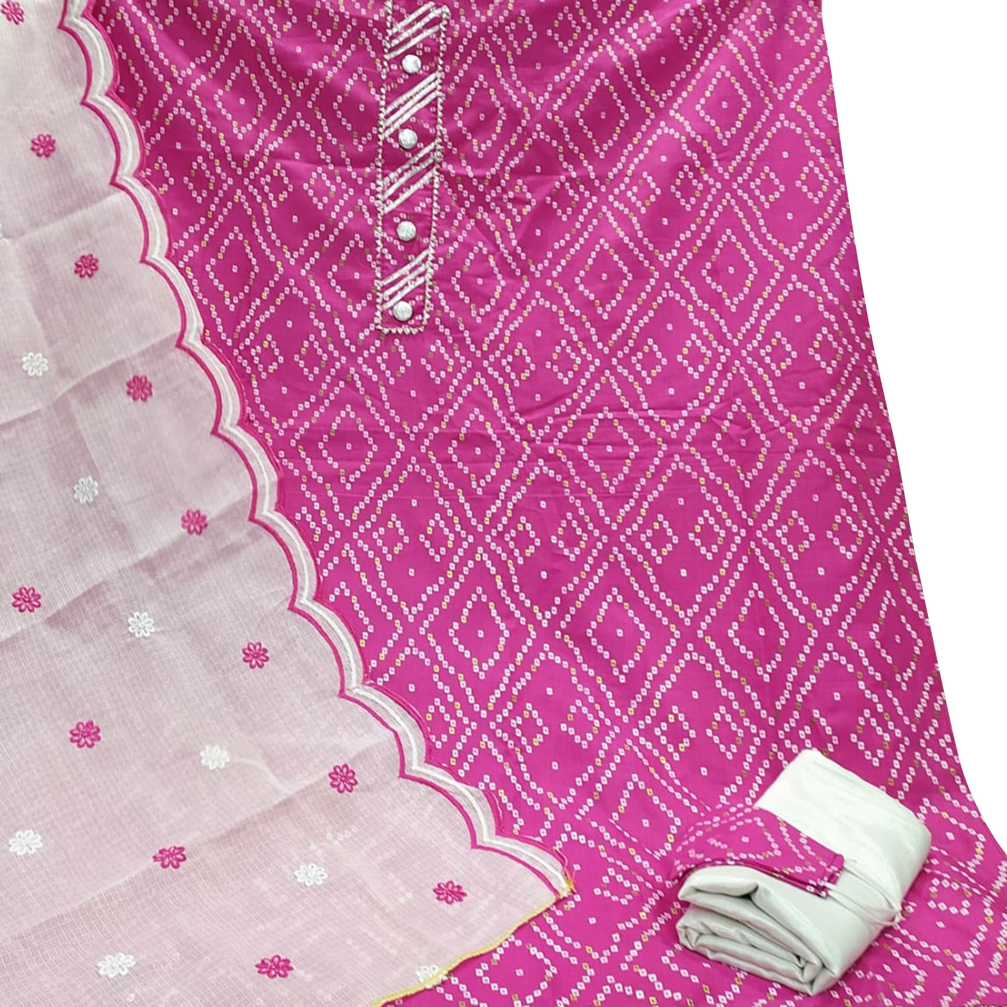 Dazzling Pink Colored Partywear Printed Cotton Dress Material