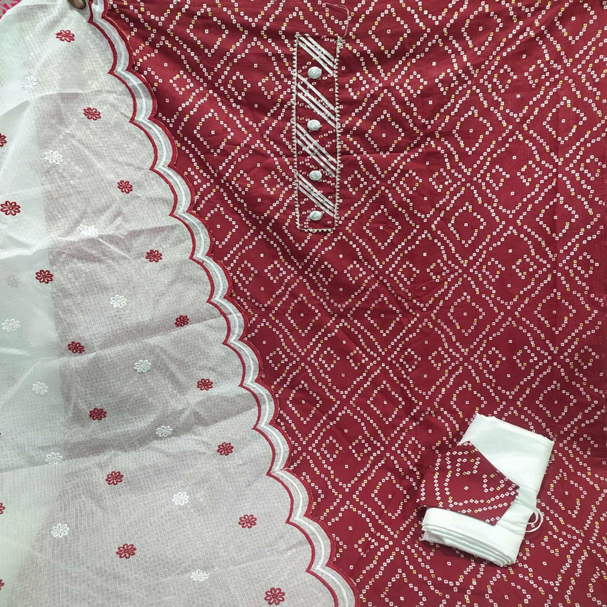 Surpassing Maroon Colored Partywear Printed Cotton Dress Material