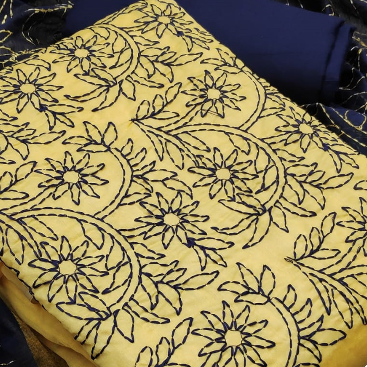 Trendy Yellow Colored Partywear Embroidered Modal Dress Material
