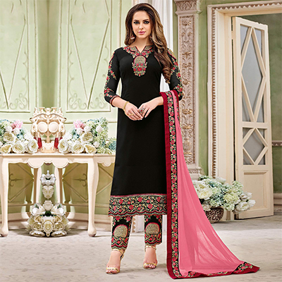 Sizzling Black Designer Partywear Embroidered Faux Georgette Pant Style Suit