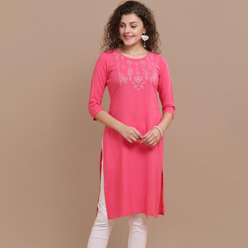 Appealing Pink Colored Partywear Floral Embroidered Rayon Kurti
