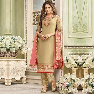 Attractive Beige Designer Partywear Embroidered Faux Georgette Pant Style Suit