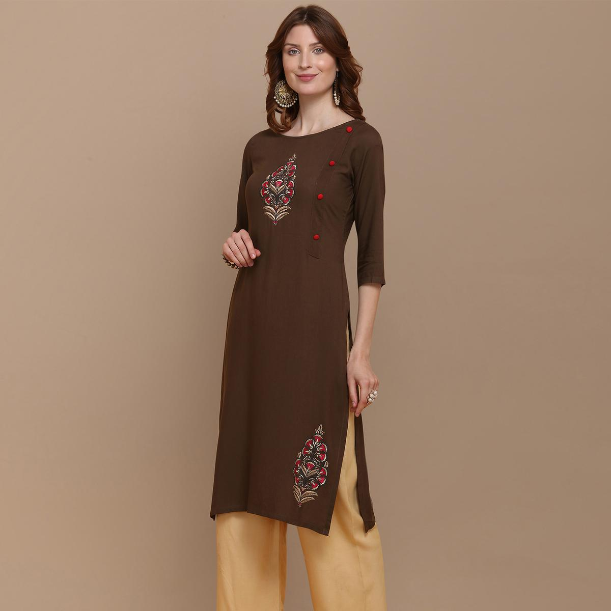 Capricious Brown Colored Partywear Embroidered Rayon Kurti