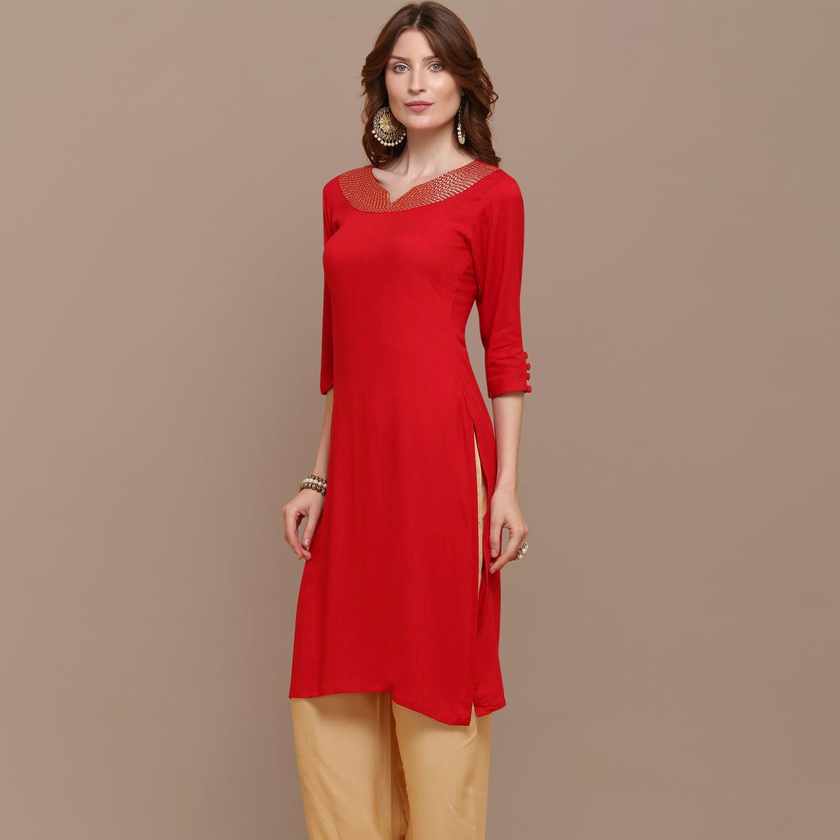 Entrancing Red Colored Partywear Embroidered Rayon Kurti