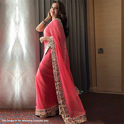 Graceful Pink Designer Partywear Georgette Saree