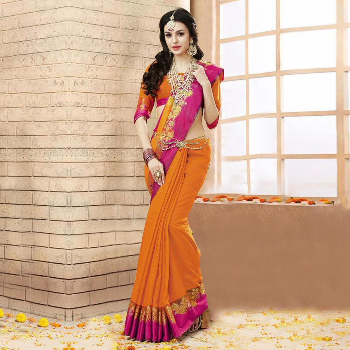 Orange - Pink Weaving Work Art Silk Saree