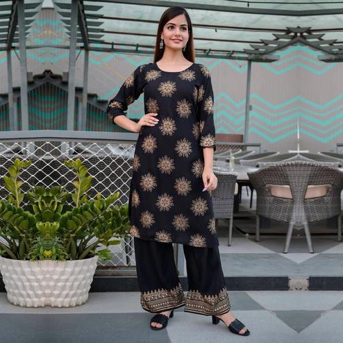 Zyla - Black Colored Casual Block Print Rayon Kurti Palazzo Set