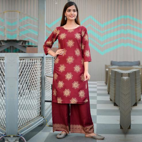 Zyla - Maroon Colored Casual Block Print Rayon Kurti Palazzo Set